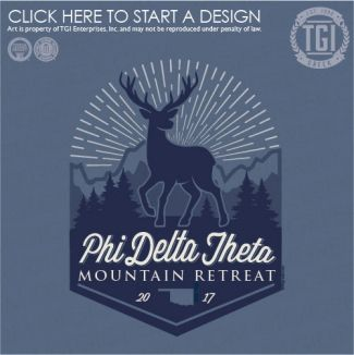 Phi Delta Theta | ΦΔΘ | Mountain Retreat | Oklahoma | Deer | TGI Greek | Greek Apparel | Custom Apparel | Fraternity Tee Shirts | Fraternity T-shirts | Custom T-Shirts