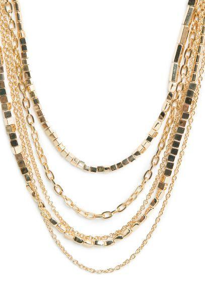 Ожерелье из цепочек и бусин