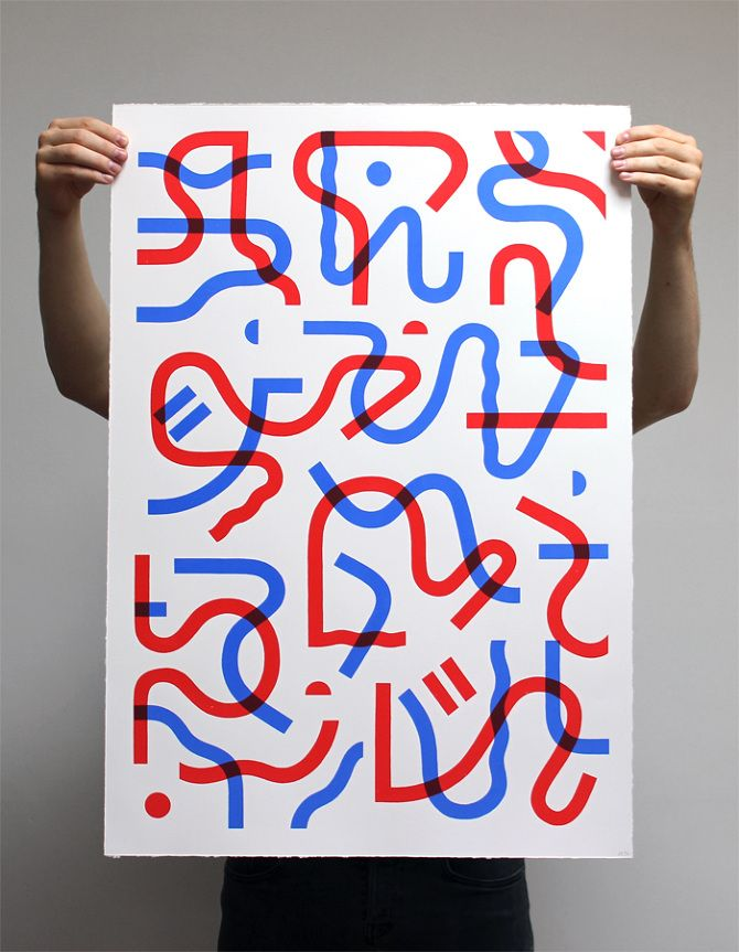 Runes - Dominic Kesterton  Two colour screen print. Printed with Lascaux pigments on heavyweight Somerset 300gsm stock. A1 size.