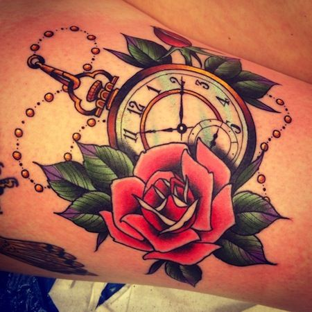 pocket watch clock and rose tattoo: similar to what I want next, but with a compass instead of a watch
