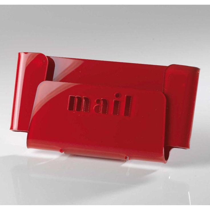 Portaposta da tavolo 28.5x8xh15cm MAIL con scritta intagliata al laser Rosso | Vesta | Stilcasa.Net: portaoggetti ufficio