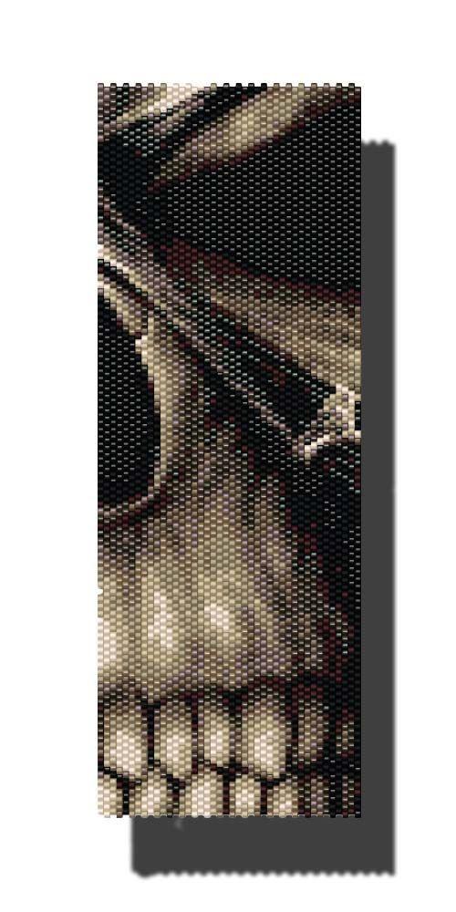 Creepy Skull PEYOTE Pattern Beaded Bracelet by DragonsLairPatterns, £3.95