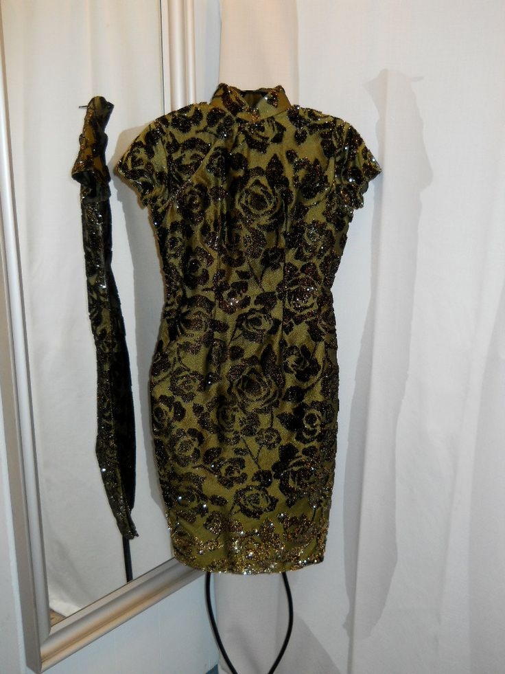 Vintage Silk Cheong Sam Olive Green Cheongsam Chinese by OwlTalk