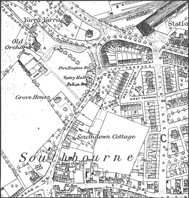 Map of 1876 showing the site of the East Sussex Constabulary Police Station in Grove Road, next to the Fire Station and Vestry Hall. The Vestry Hall was built in 1851 as the seat of local administration, the Town Hall was not constructed until 1886. At this time, the population of Eastbourne was less than that of Pevensey or Hailsham.