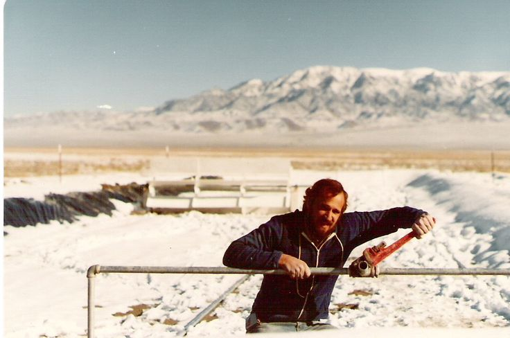 Dr. Cysewski working in the snow to build one of the first spirulina ponds in Nevada | Nutrex Hawaii