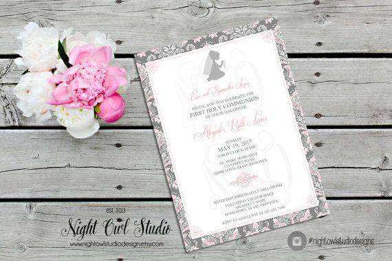 First Communion Invitation, First Holy Communion Invite, Girls Communion, Damask, Grey Charcoal, Pink