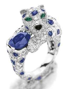 """A diamond, sapphire and emerald """"Panther"""" ring, by Cartier ♥"""