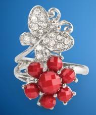 Virág és pillangó gyűrű, ezüstszínű fémből, 19 mm