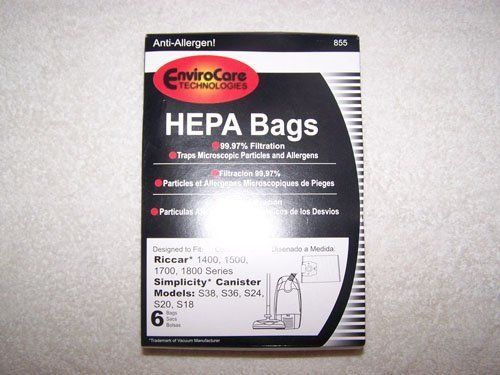 Riccar 1400, 1500, 1700, 1800 Series Simplicity Canister Models S38, S36, S24, S20 and S18 HEPA Vacuum Bags 6 pk. by Env