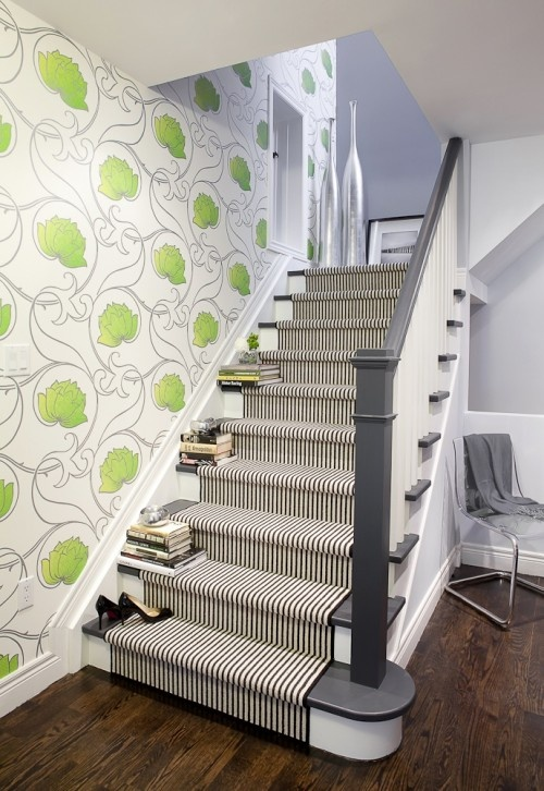 Love this staircase!  You can also purchase the wallpaper here: http://www.designyourwall.com/store/Moda-Beige-with-Green-Flowers-HX92004AS-pr-4256.html