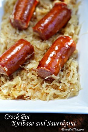 Crock Pot Kielbasa and Sauerkraut is the perfect appetizer recipe or dinner recipe. The slow cooker does all the work and you get an amazing meal!
