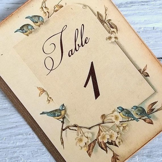 Table number signs storybook wedding romantic birds | via Etsy