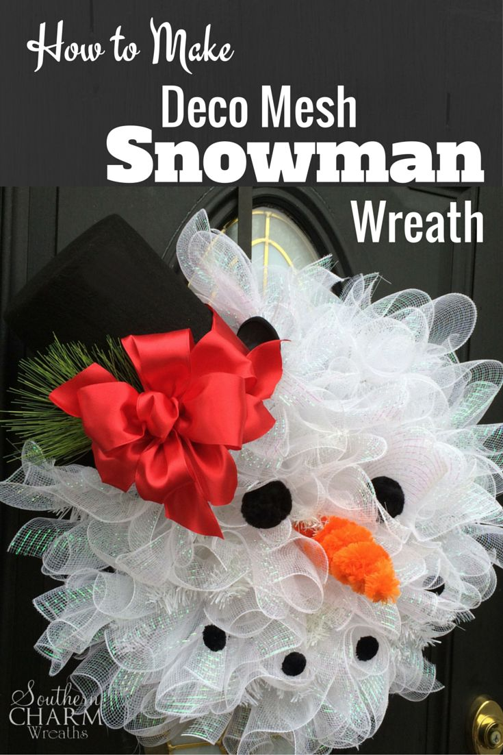 How to make a christmas wreath with mesh - How To Make Deco Mesh Snowman Wreath