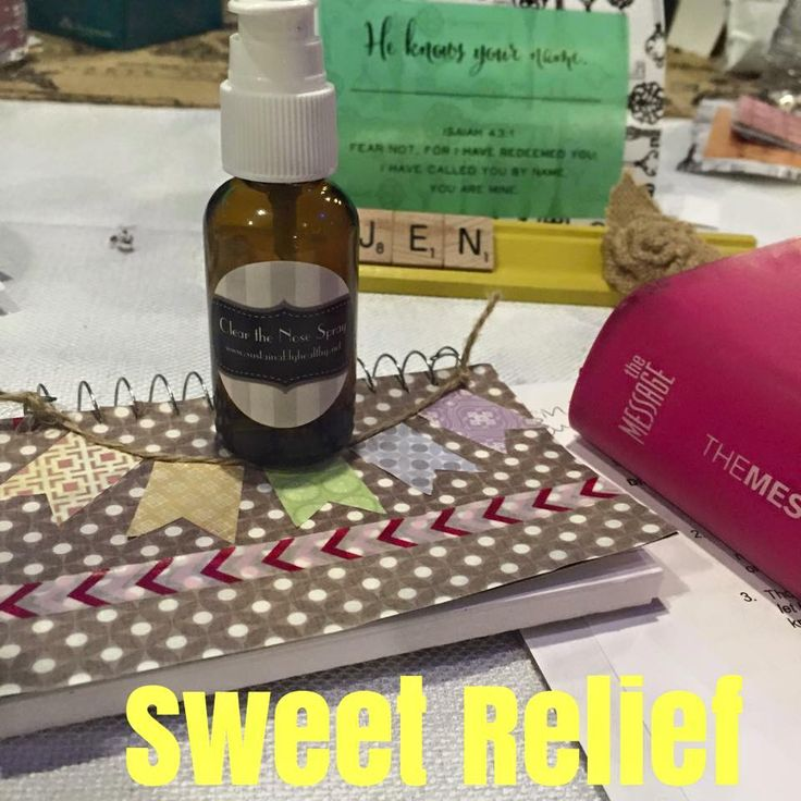 Clear the nose spray 3 drops Frankincense 2-3 drops Peppermint 4 drops Lavender Pinch of Himalayan Sea Salt (this helps disburse the oils) Pinch of baking soda if using for kids (this helps with stinging) Fill to top with filtered water!!