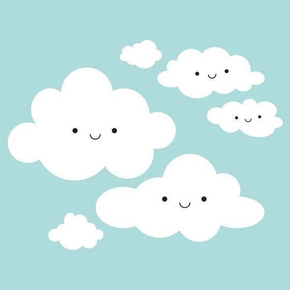 Cute happy clouds.