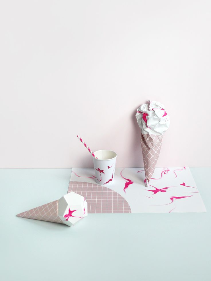 Delicious designs for an Ice Cream Party - Paper ice Creams, Party Cups, Scrunchable