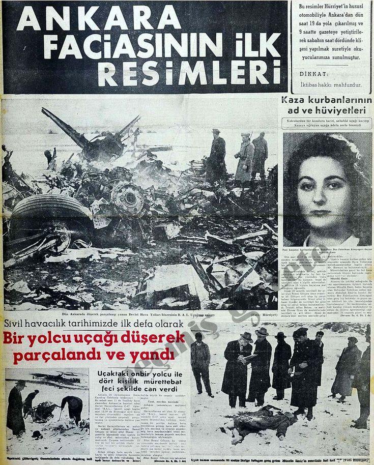 Havacılık tarihimizde ilk defa yolcu uçağı düşerek parçalandı
