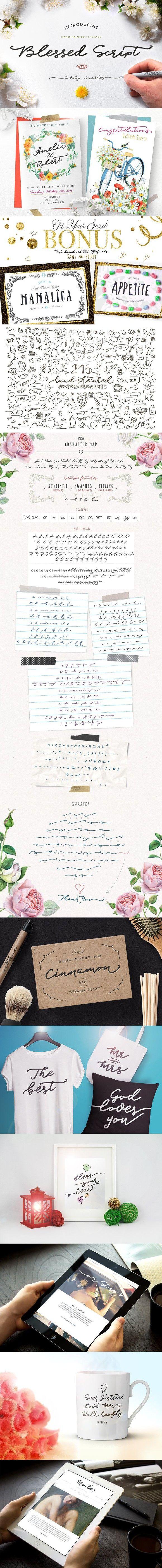 Blessed Script with sweet BONUS. Wedding Card Templates