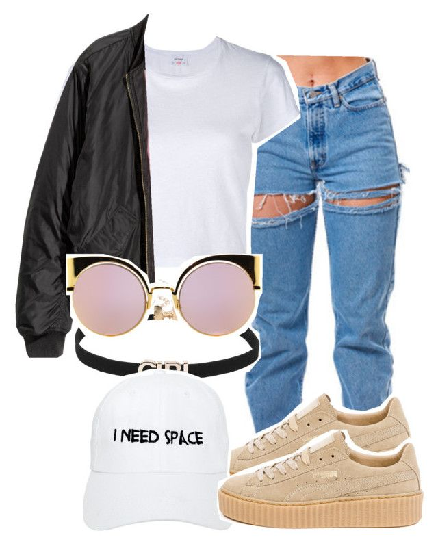 """""""Untitled #888"""" by sassy-akia ❤ liked on Polyvore featuring RE/DONE, Puma, Nasaseasons and Fendi"""