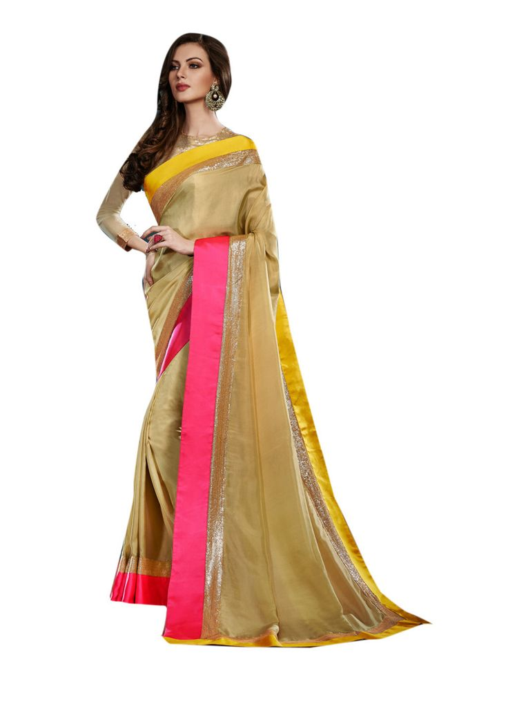 Description:- Beige Color Pure Satin Fabric Saree with Beige Color Beautiful Sequence & Net Fabric Blouse. This Saree has Yellow & Pink color With Sequence work lace border work with two side pipping which makes the Saree and you look Beautiful. The Blouse can be Stitched upto size 44. Rate:- 2975/- For bookings:- Ring or Whatsapp on +919870725209 Shipping in India:- Free Cash on Delivery:- Available in India Worldwide Shipping:- Available