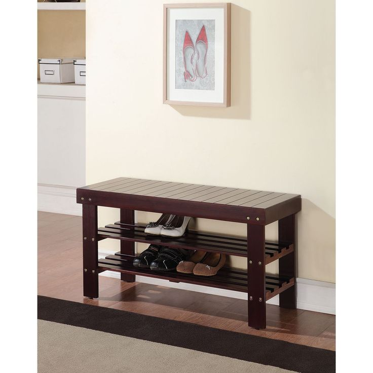 Ensure a clean and organized look in your entryway with this practical bench that includes a shoe rack. Pine construction provides a long-lasting durability, while the multiple color choices ensure a