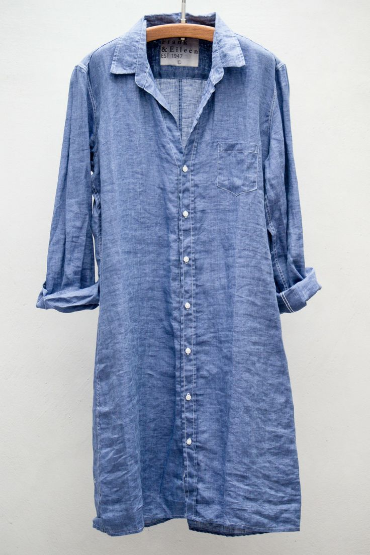 heist - frank & eileen shirt dress - dark blue linen