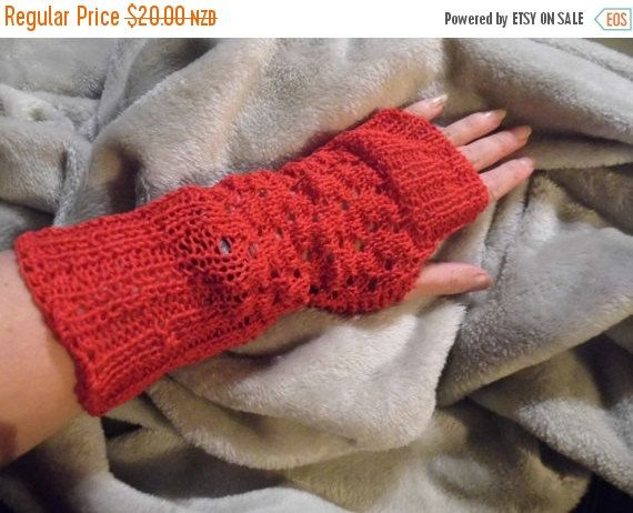 """Red Fingerless Gloves, Lace Hand knitted, Christmas gift, 100% Cotton yarn,  soft and fashionable. Hand wash only, inside out, and lie flat to dry.Great companion for a night on the town, early morning jogs or bicycling, driving, or touchscreen devices, """"one size fits most adult/teens"""". Gloves measure approx 24 cm in length."""