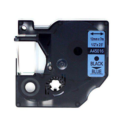 "Dymo D1 45016 12mm (0.5"") Black on Blue Compatible Label Tape"