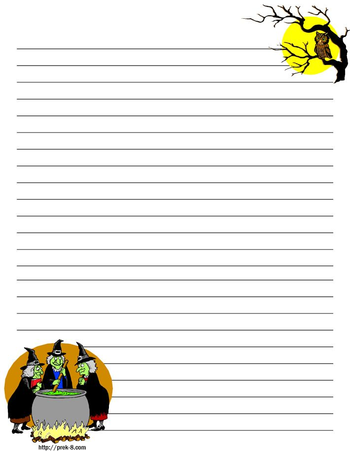 cooking witches and owl on haunted tree halloween decoration regular lined kids writing paper free