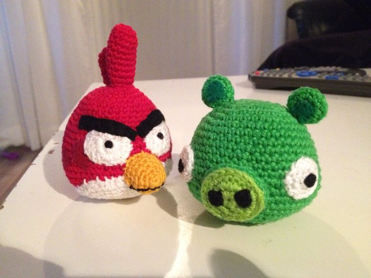 Crocheted Angry bird and Bad pig. I used the free pattern from nerdigurumi.com