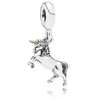 From the new PANDORA collection. Unicorn two tone dangle charm $65 #silver #gold #jewelry