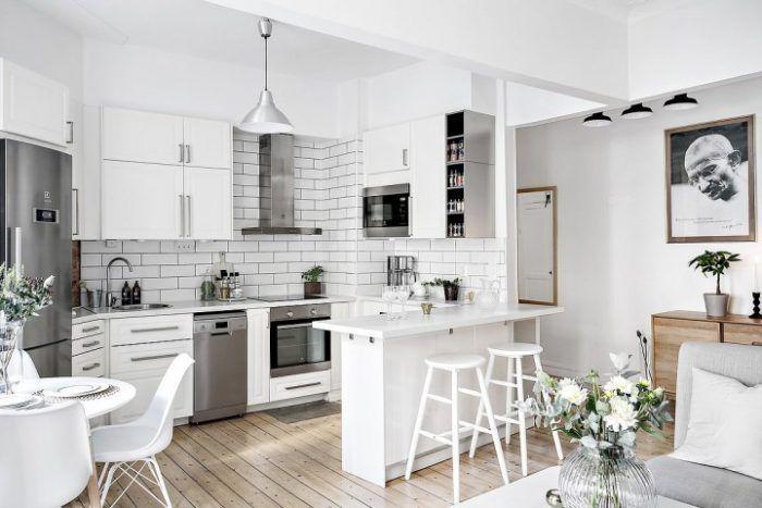 Decoracion Casas Pequenas Usando Colores Claros Pequenas Cocinas Abiertas Decorar Cocinas Pequenas Decoracion De Cocina Moderna