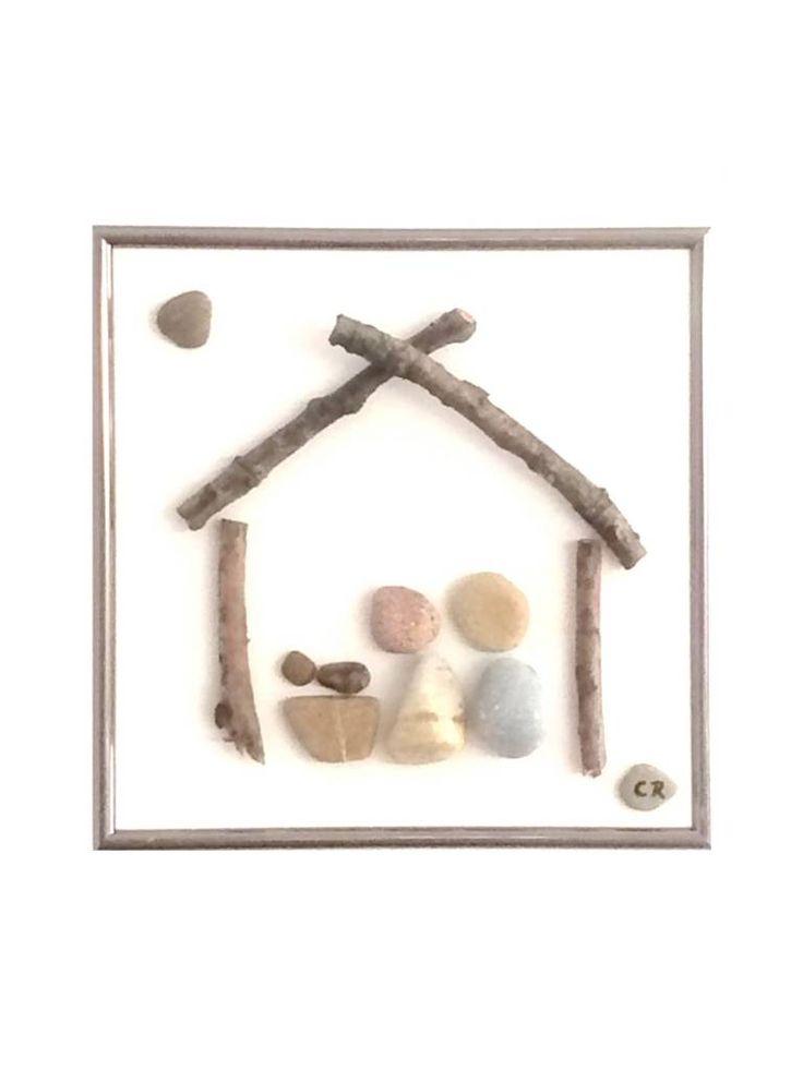 Die heilige Familie, Jesus Geburt im Stall The Holy Family, pebbles art, craft, Kunst, image, bild