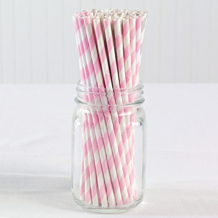 Vintage Paper Straws (pack of 50)- Pink | #exclusivelyweddings | #pinkwedding