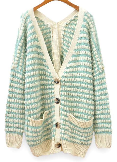 Mint Green V-neck Batwing Sleeve Mix Knit Cardigan
