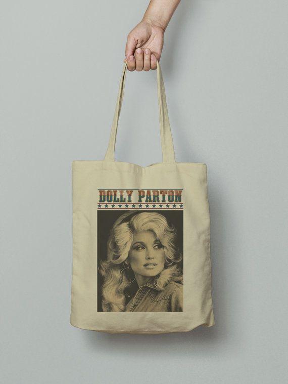 Dolly Parton Tote Bag, Market bag, Fabric grocery bag, Shoulder strap, Unique design and gift