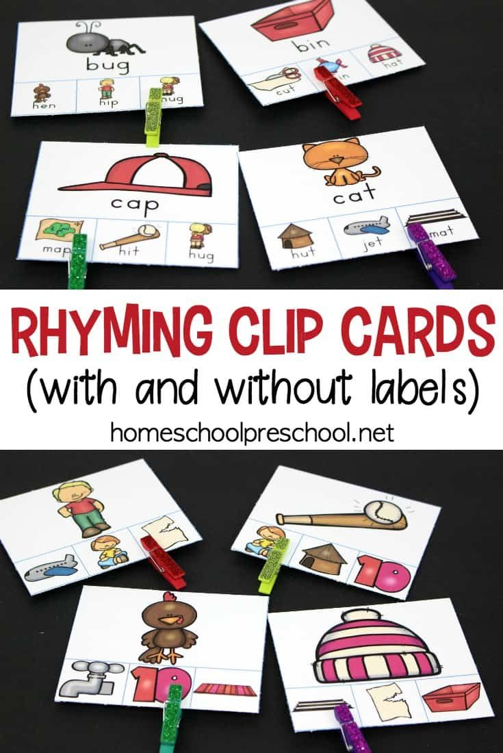 Download a set of free printable Rhyming Clip Cards.