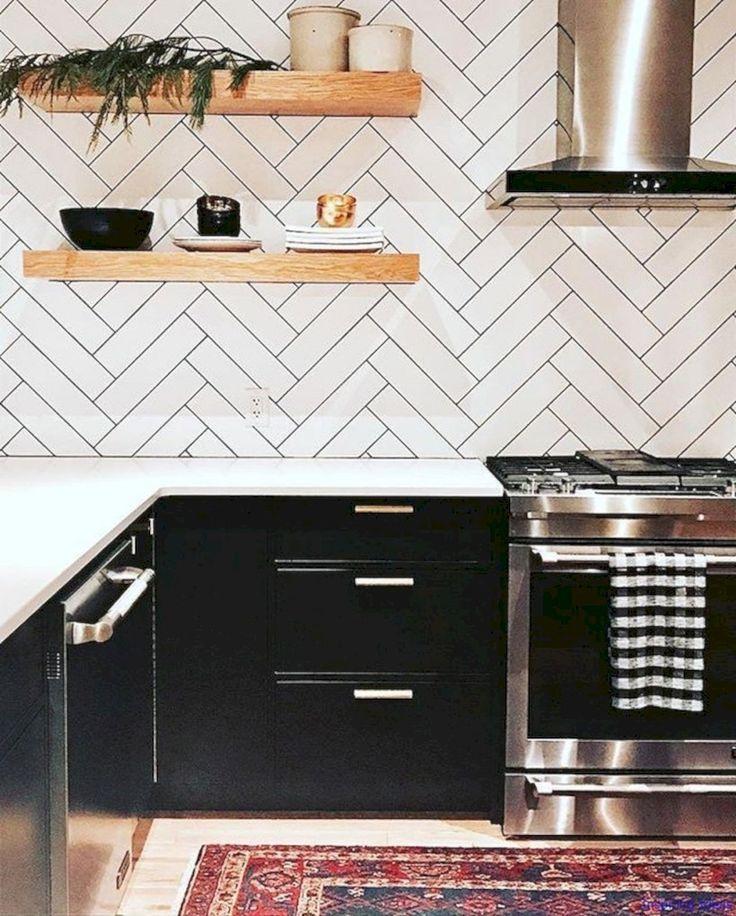 46 Luxurious Black White Kitchen Design Ideas White Kitchens Black