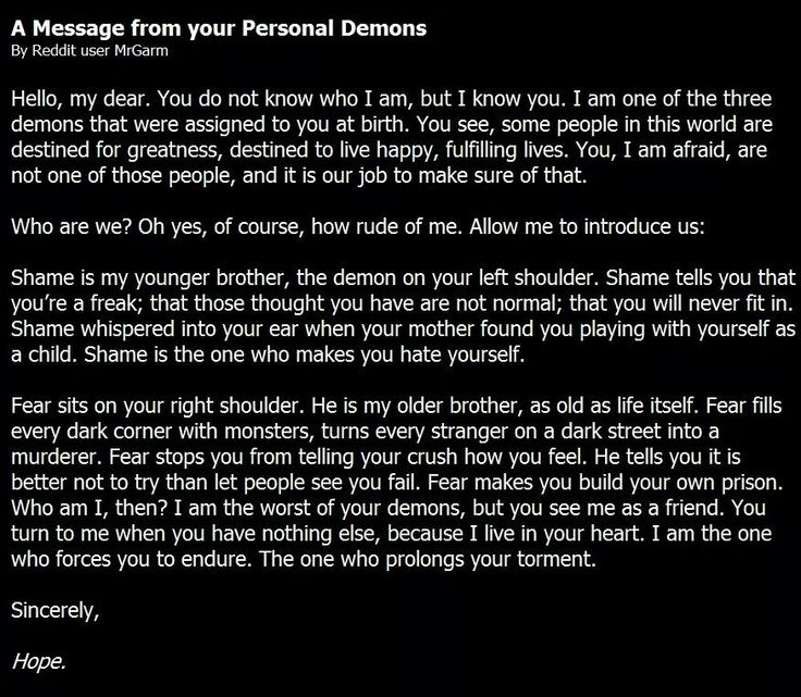A Message from your personal demons