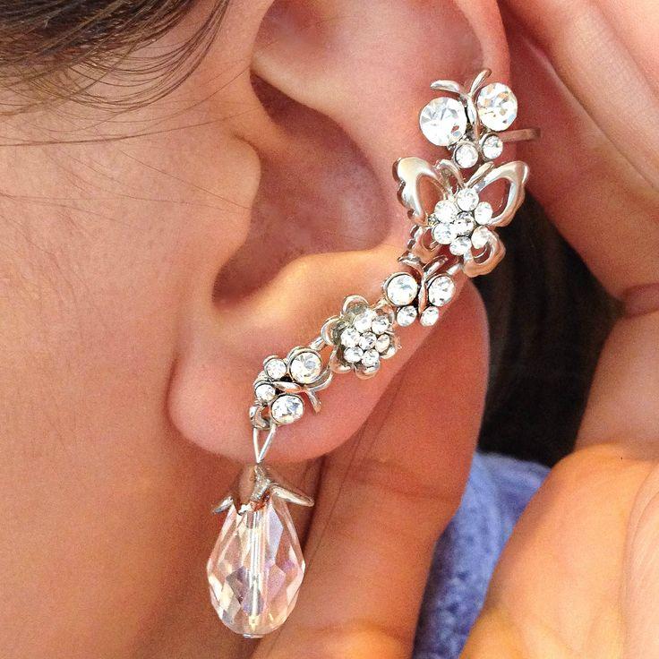 Butterfly Crystal Ear Cuff <span class='money'>$6</span>