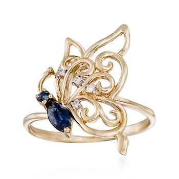 This ring depicts a beautiful butterfly in profile. The whimsical design features .24 ct. t.w. sapphires and openwork wings of 14kt yellow gold and diamond  accents. Sapphire butterfly ring. Free shipping & easy 30-day returns. Fabulous jewelry. Great prices. Since 1952.