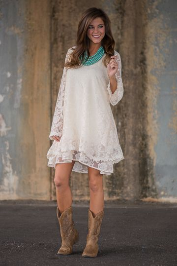 """We. Are. In. Love. With. This. Dress. Seriously, all that lace? In a gorgeous shade of cream? How could we deny such a beauty!? This one would be a breathtaking choice for a bridal shower for any newly betrothed ladies out there! ;) <br /> <br />Bra-friendly! Material has minimal amount of stretch. Fully lined. <br />Miranda is wearing the small. <br /> <br />Length from shoulder to hem: S- 233""""; M- 34""""; L- 35""""."""