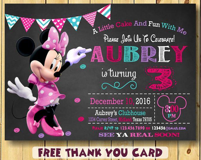 Minnie Mouse Invitation Minnie Mouse Party Invitation Minnie Mouse 3rd Birthday Free Thank You Card Min Festa Infantil Minie Convite Minnie Festa Infantil