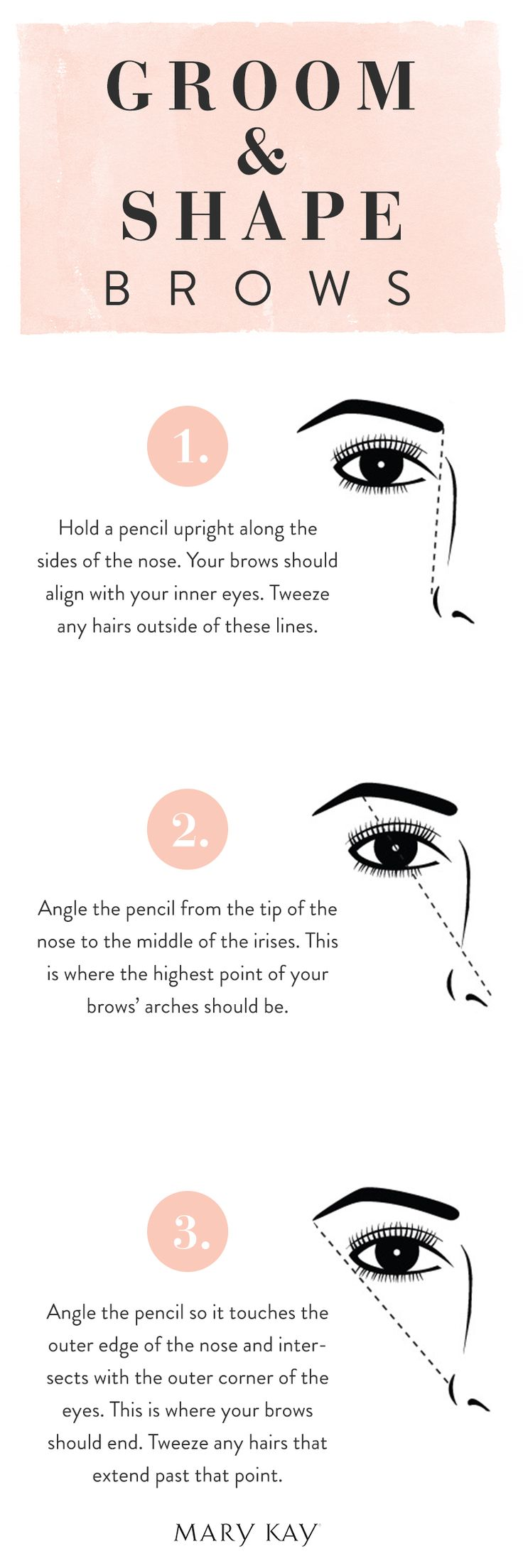 Well-groomed, defined eyebrows can make your face look years younger. Brush brows gently and tweeze along the natural brow lines. Here is how to use a pencil as a guide to create flattering arches. Cl