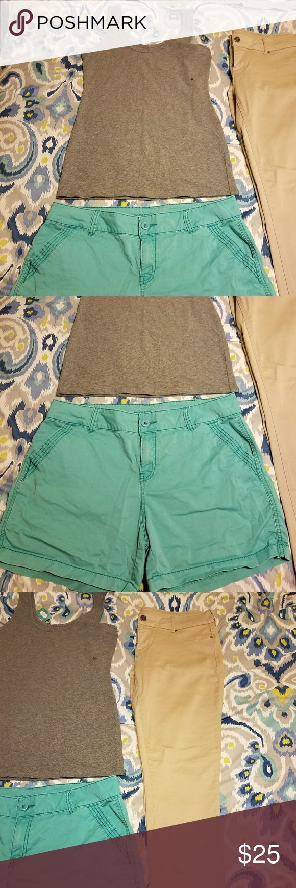 Maurices Lot 3 Maurices Lot of 3. Grey medium basic tank NWT. Aqua shorts size 15/16 VGUC. Distressed look. No stains. Khaki size large regular length stretchy skinny pants. These fit like a 15/16. One small area on the knee that is hard to see but has not been treated. Maurices Pants Skinny