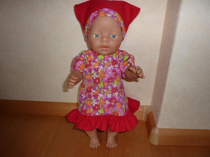 Jurk met ruche en bandana Baby Born 43 cm. Eigen ontwerp