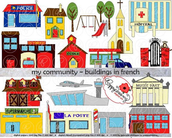 Hey, I found this really awesome Etsy listing at https://www.etsy.com/listing/173077698/my-community-buildings-in-french-clipart