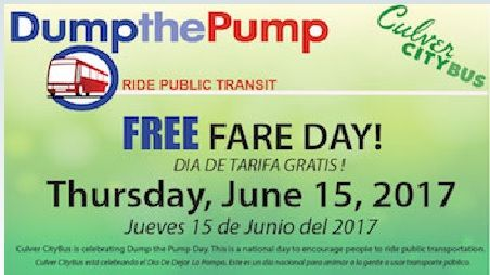 And in local news: Culver CityBus is offering FREE RIDES on Thursday, June 15th, to all commuters for #NationalDumpThePumpDay. Hop on board and see the changes in your commute. You might even win an exclusive #CulverCityBus T-shirt!    The 12th annual celebration is an opportunity to highlight the many benefits of using public transportation. Save time, money and stress – Try Transit!