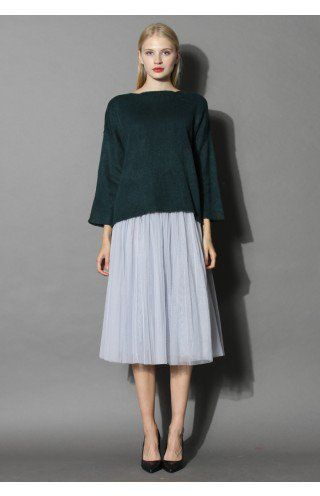 Ethereal Tulle Mesh Midi Skirt in Grey - Tulle Skirt - Trend and Style - Retro, Indie and Unique Fashion