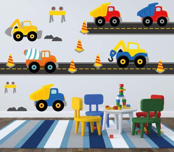 Kids Truck Wall Decals SET Construction Wall Decals by YendoPrint